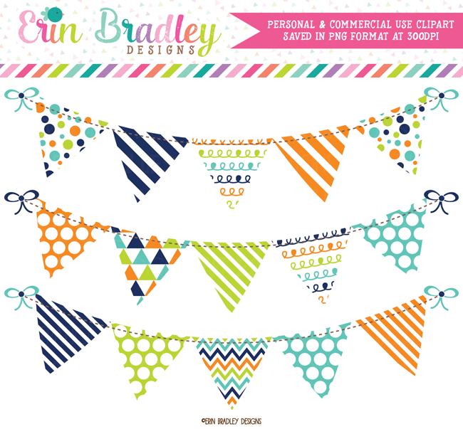 Navy Blue Green and Orange Banner Flag Bunting Clipart