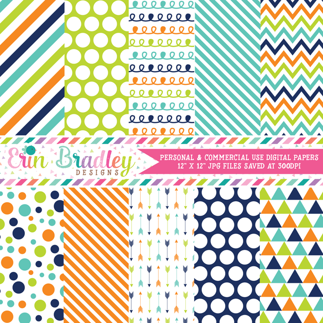 Navy Blue Orange Green Digital Papers