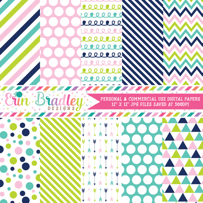Navy Blue Pink Green Digital Paper Pack