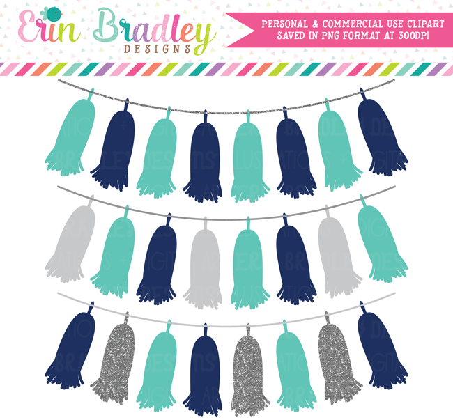 Tassel Bunting Clipart Navy Blue Turquoise Silver Glitter Garland