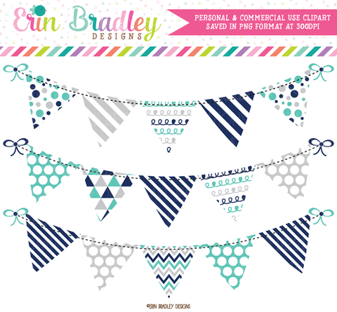 Navy Blue Turquoise Gray Bunting Clipart