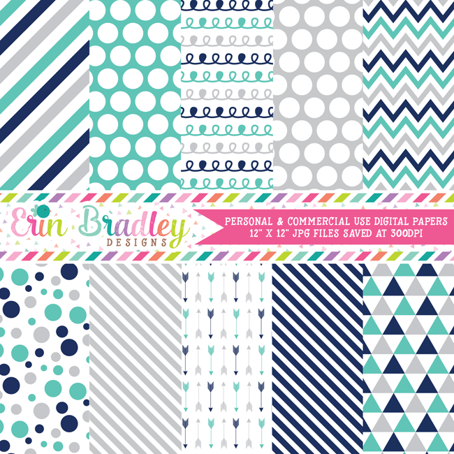 Navy Blue Turquoise Gray Digital Paper Pack Commercial Use OK