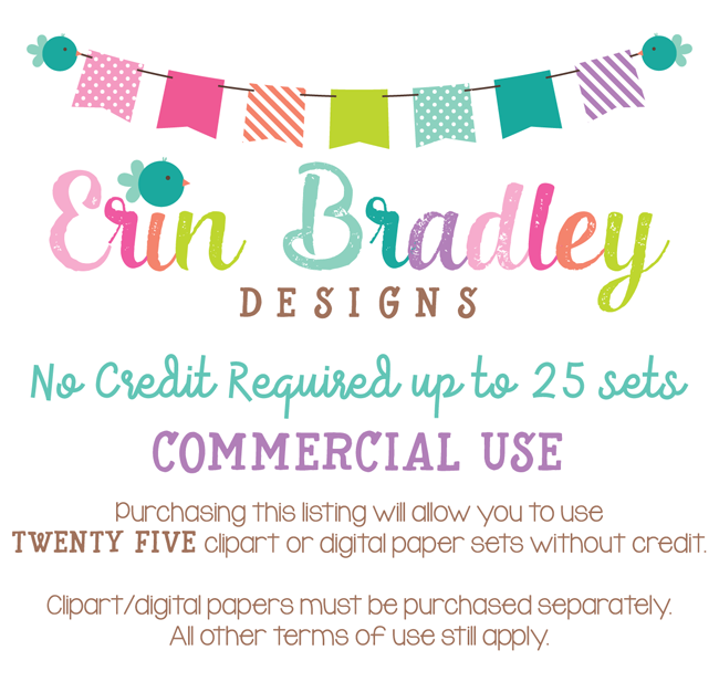 Commercial Use No Credit Required Up to 25 Sets Erin Bradley Designs