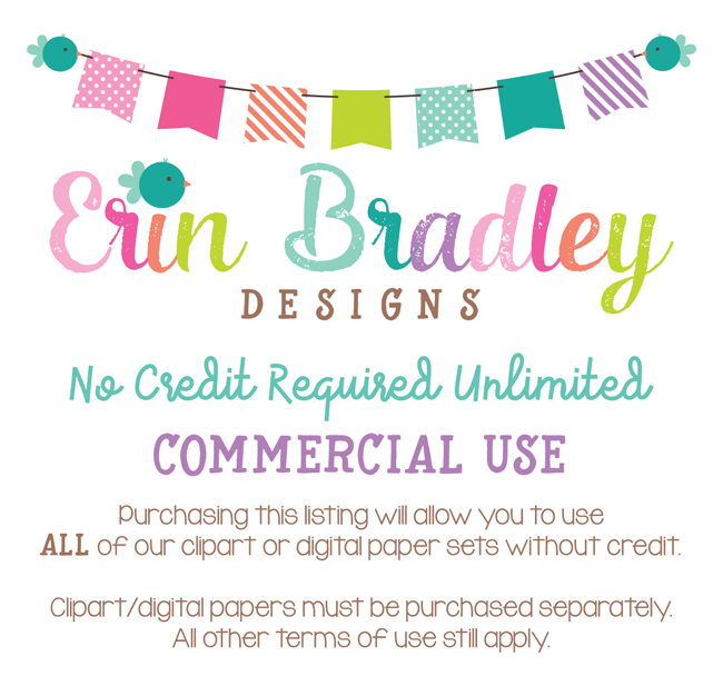 Commercial Use No Credit Required Unlimited Erin Bradley Designs