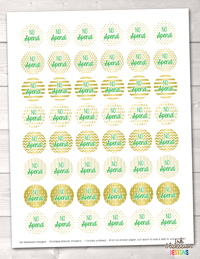 No Spend Printable Planner Stickers Instant Download PDF