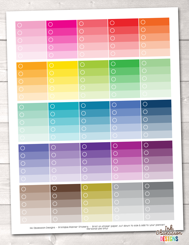 Ombre Checklists Printable Planner Stickers PDF