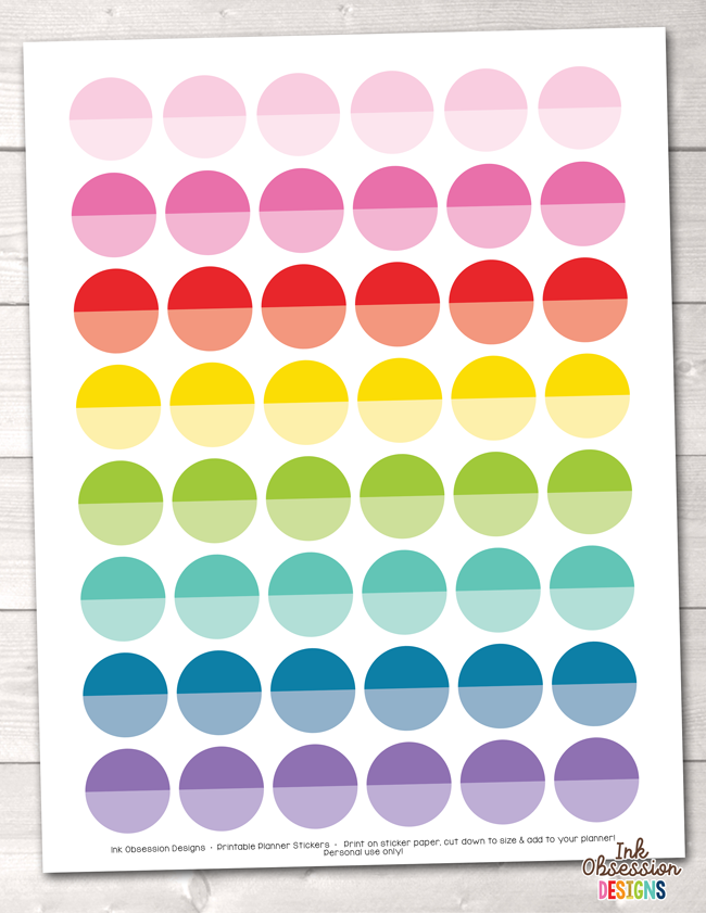 picture about Printable Circle Stickers named Ombre Circles Printable Planner Stickers