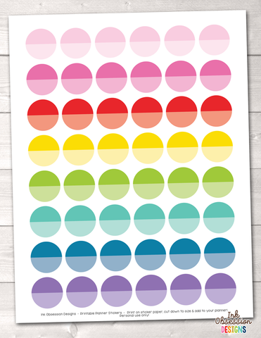 Ombre Circles Printable Planner Stickers Instant Download PDF