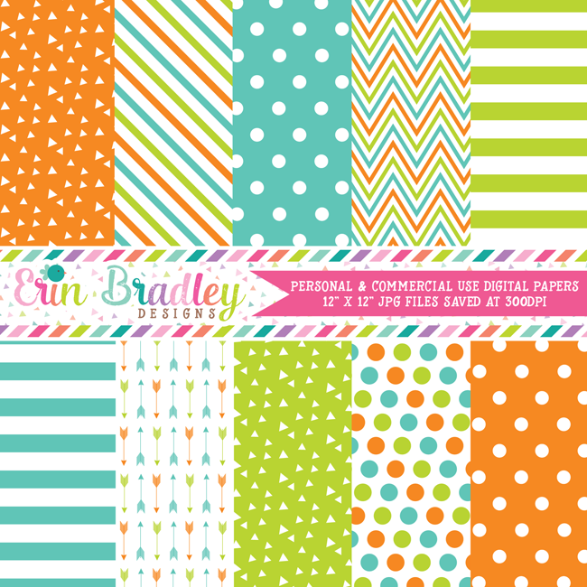 Orange Lime & Blue Digital Paper Pack