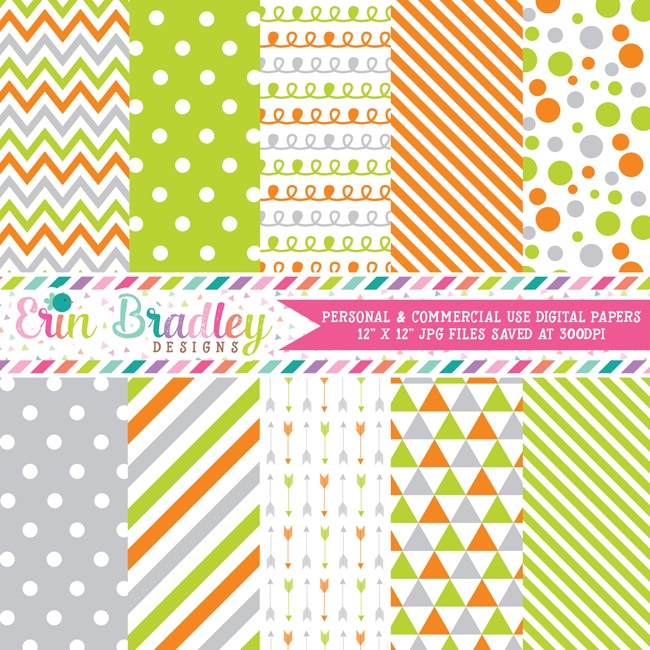 Orange Gray and Green Digital Paper Pack