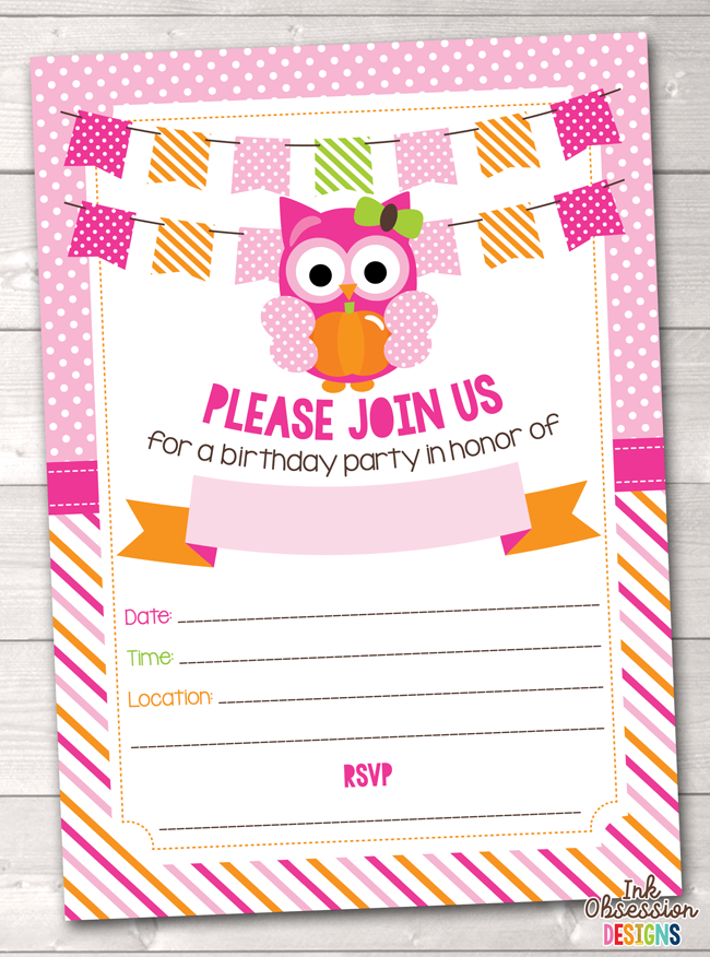 Girls Pink Pumpkin Owl Printable Birthday Party Invitation