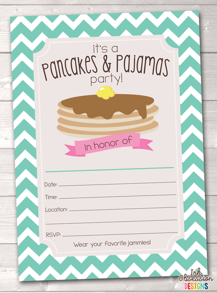 Aqua Blue Pancake Party Printable Birthday Party Invitation
