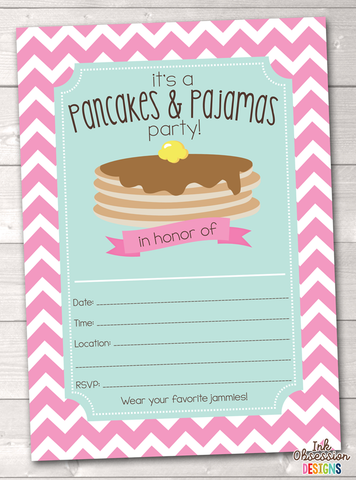 Pink Pancake Party Printable Birthday Party Invitation