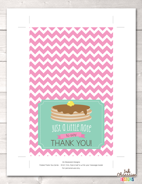 Pancake Party Printable Thank You Cards
