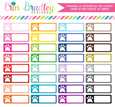 Paw Print Rectangle Boxes Clipart