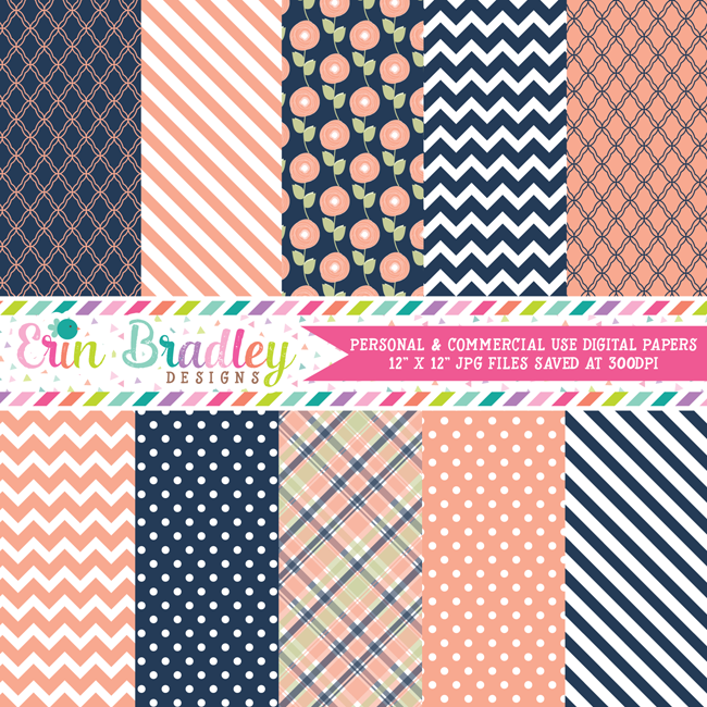 Peach and Navy Blue Digital Paper Pack