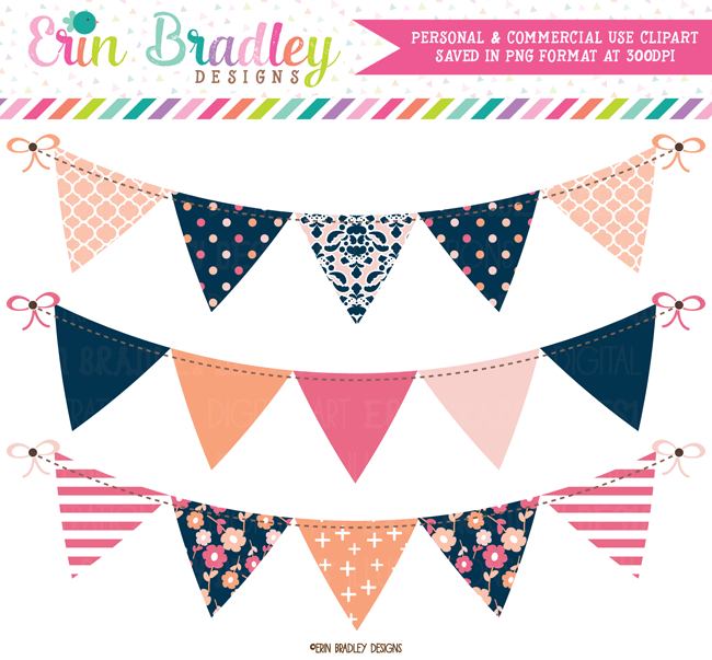 Peachy Pinks Bunting Banner Flag Clipart