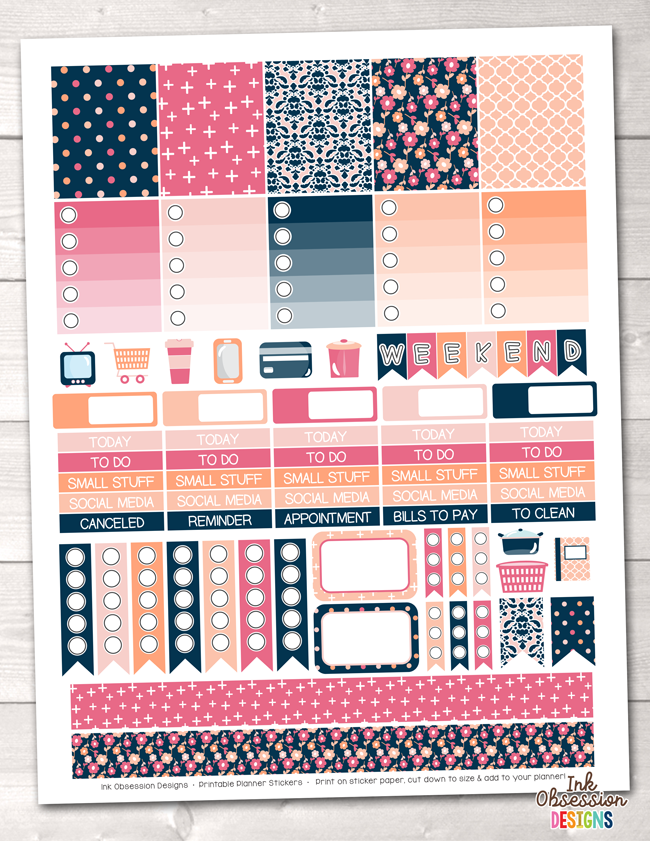 Peachy Pinks Printable Planner Stickers Weekly Kit