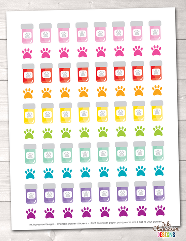 Pet Pill Bottles Printable Planner Stickers
