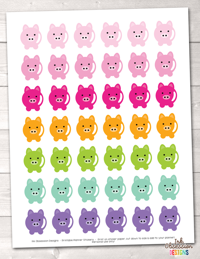 Piggy Printable Planner Stickers PDF