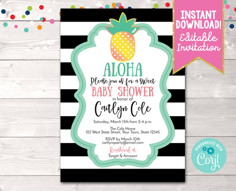 Editable Aloha Pineapple Baby Shower Invitation Black Instant Download Printable Invite