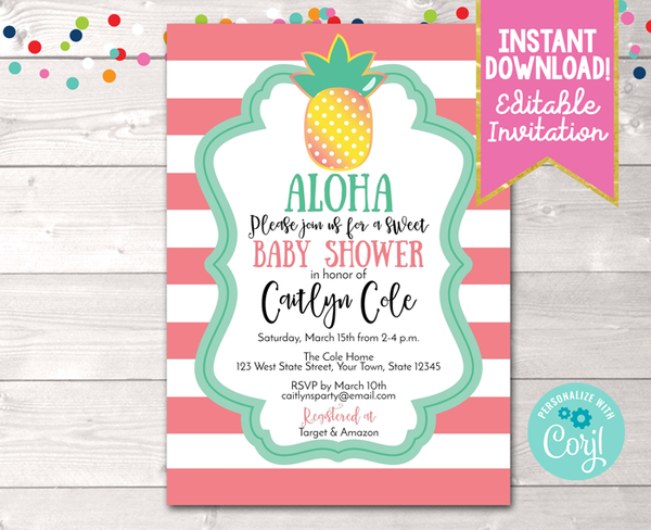 Editable Aloha Pineapple Baby Shower Invitation Coral Instant Download Printable Invite