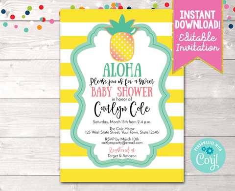 Editable Aloha Pineapple Baby Shower Invitation Yellow Instant Download Printable Invite