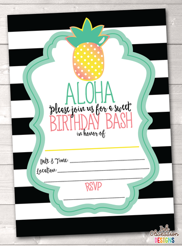 Aloha Pineapple Printable Birthday Party Invitation Black