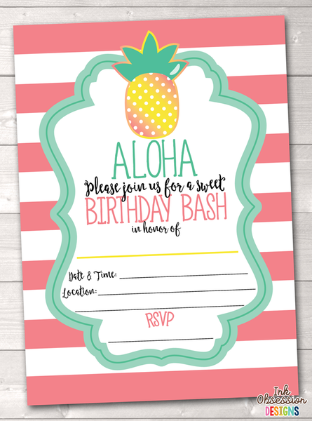 Aloha Pineapple Printable Birthday Party Invitation Pink
