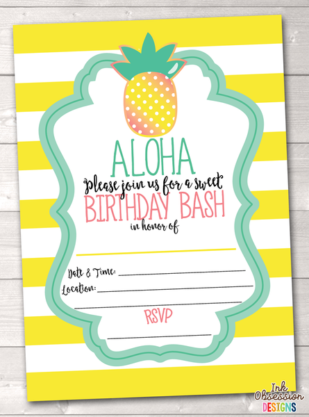 Aloha Pineapple Printable Birthday Party Invitation Yellow
