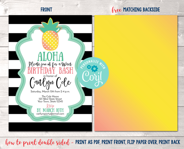 Pineapple Birthday Party Invitation in Black Instant Download Digital File
