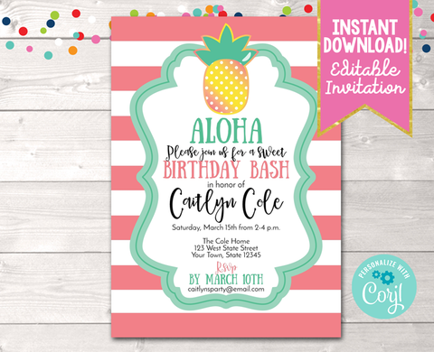 Pineapple Birthday Party Invitation in Coral Instant Download Digital File