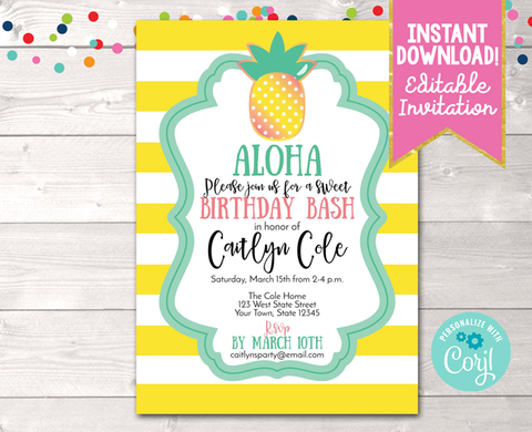 Pineapple Birthday Party Invitation in Yellow Instant Download Digital File