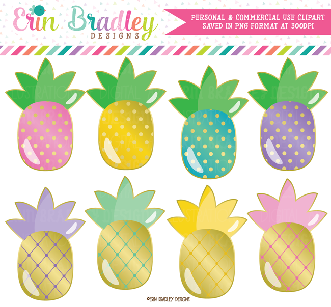 Gold Pineapples Clipart