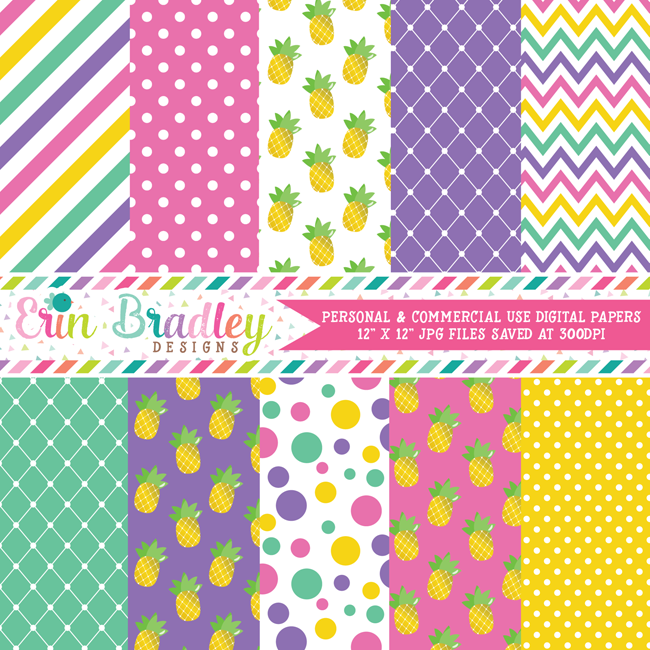 Pineapples Digital Paper Pack