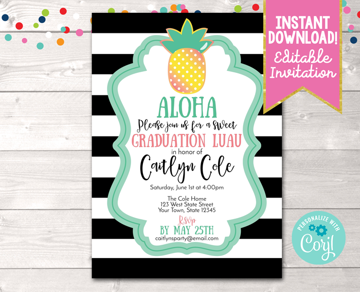 Editable Pineapple Graduation Party Invitation Black Instant Download Digital File
