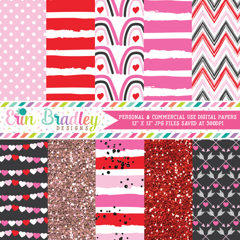 Pink Valentines Day Digital Paper Pack