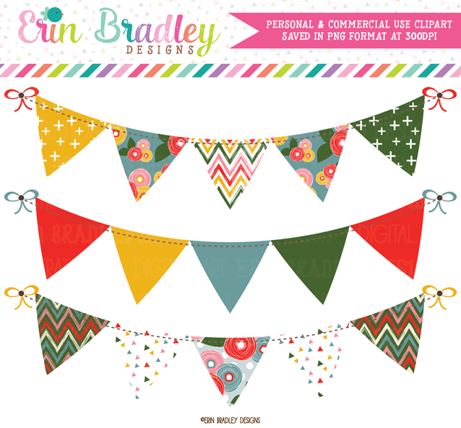 Pink Bloom Bunting Banner Flag Clipart