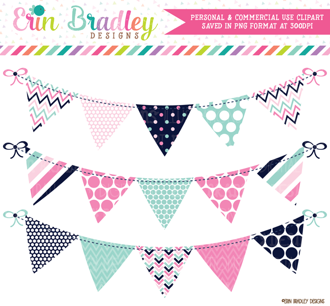 Commercial Use Bunting Clipart Pink Navy Aqua Blue