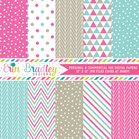 Pink Blue Beige Digital Paper Pack