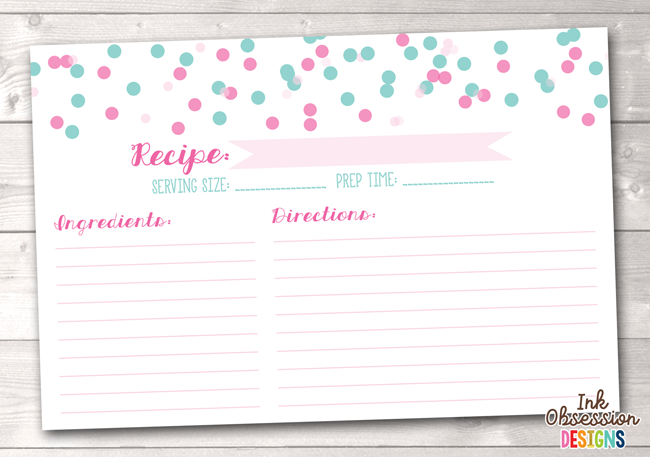 Pink and Blue Polka Dot Confetti Printable Recipe Cards