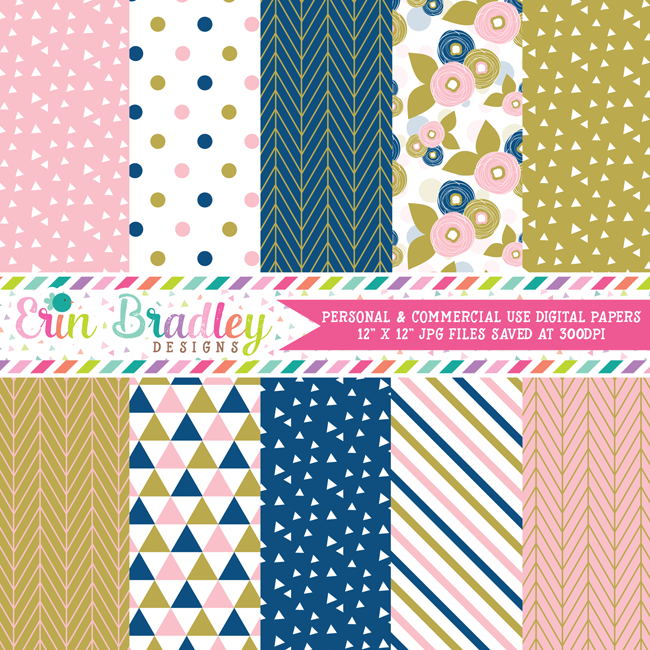 Pink Blue Gold Digital Paper Pack