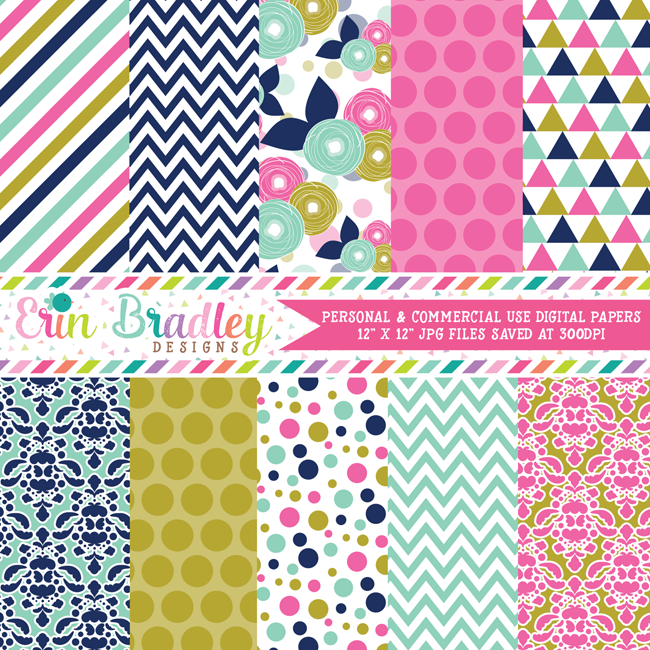 Pink Blue and Gold Digital Paper Pack