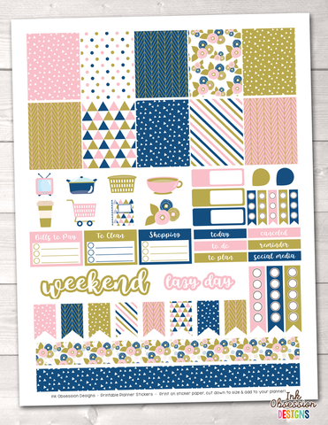 Pink Gold Blue Printable Planner Stickers Weekly Kit