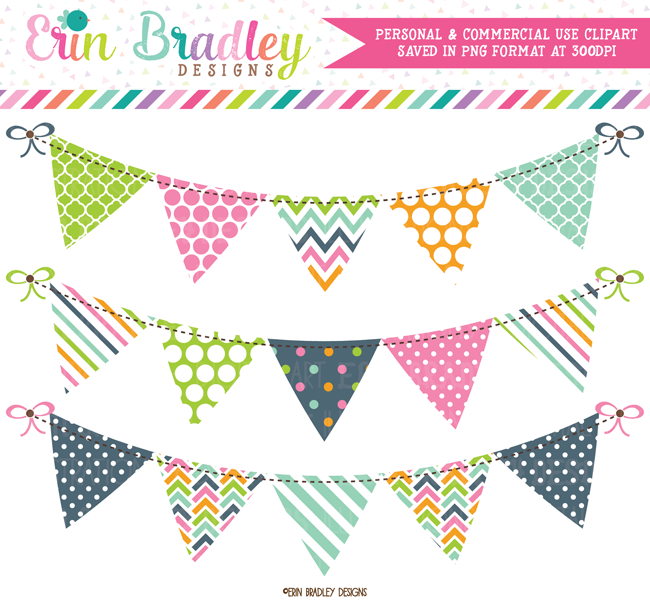 Pink Blue Green Orange Banner Flag Clipart