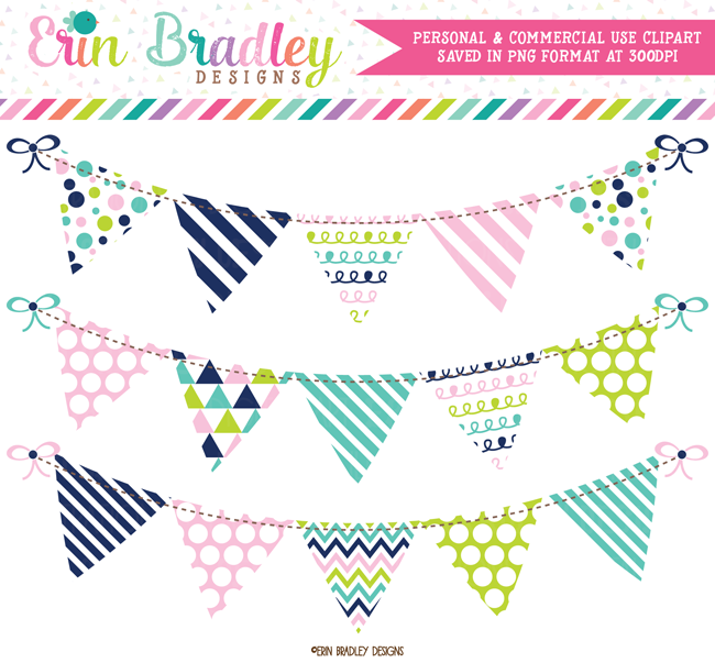 Pink Blue Green Navy Banner Flag Bunting Clipart