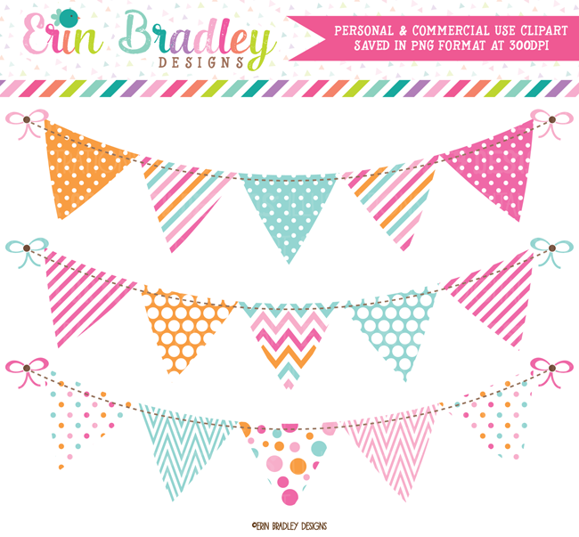 Pink Blue Orange Bunting Commercial Use Clipart