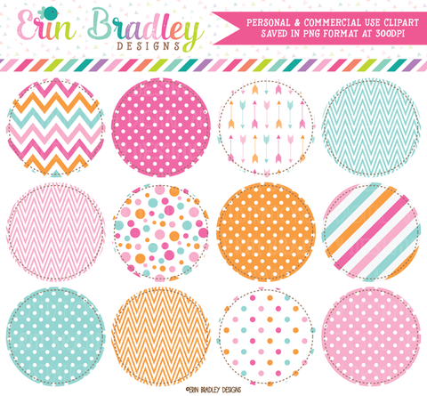Pink Blue Orange Circles Clipart