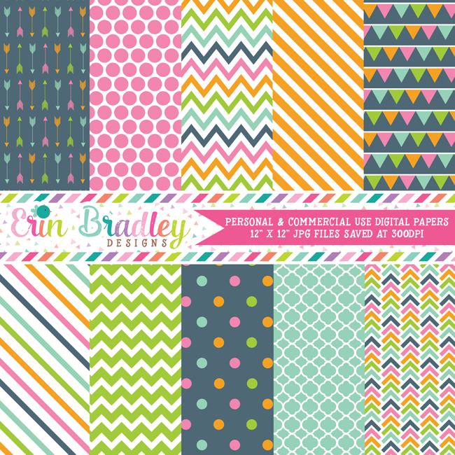 Pink Orange Green Blue Digital Paper Pack
