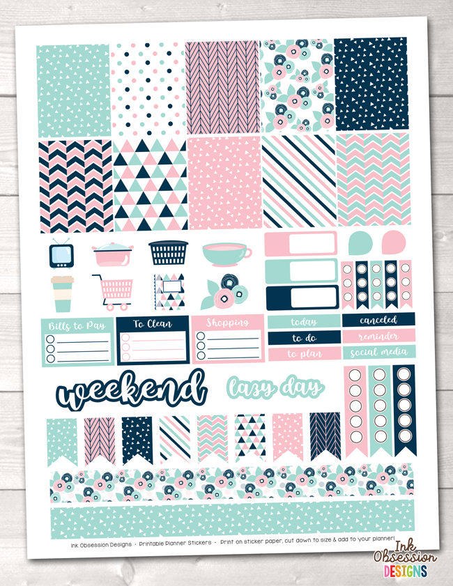 Pink and Blue Printable Planner Stickers Weekly Kit